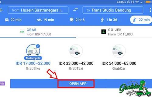 cek tarif Grab Car tanpa aplikasi