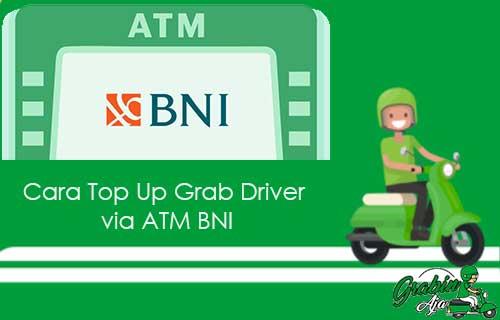 Cara Top Up Grab Driver via ATM BNI