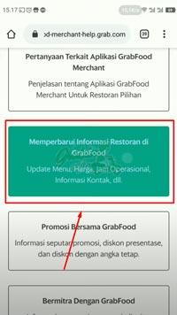 Pilih Menu Memperbarui Informasi Restoran di Grabfood