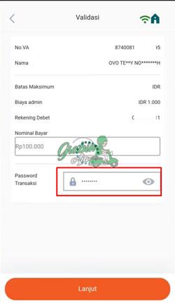 8 Masukan Password Transaksi