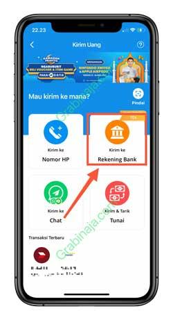 3 Klik Kirim Ke Rekening Bank