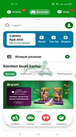 1 Buka Aplikasi Gojek