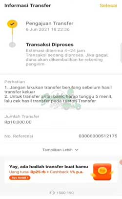 Transfer Selesai