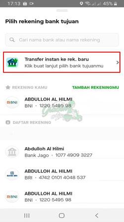 Pilih Transfer Instant ke Rekening Baru 1