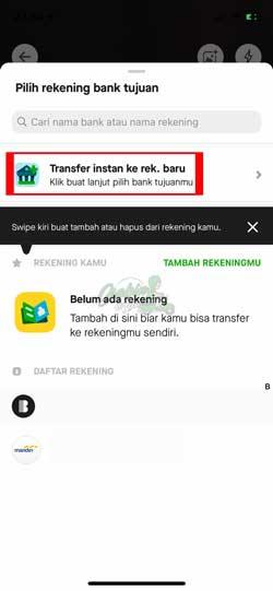 Pilih Transfer Instant ke Rekening Baru