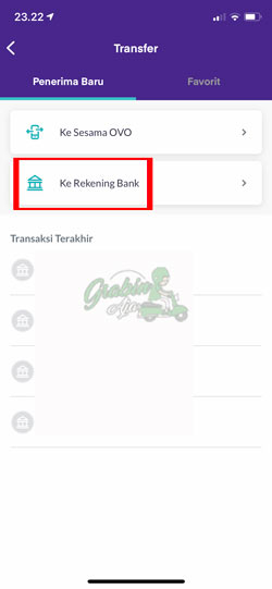 Pilih Transfer ke Rekening Bank Lain