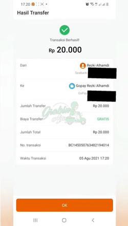 Top Up Gopay Lewat SeaBank Berhasil