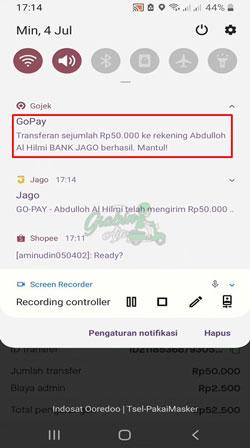 Transfer Gopay ke Bank Jago Berhasil