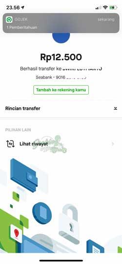 Transfer Gopay ke SeaBank Berhasil