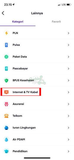 Pilih Internet TV Kabel
