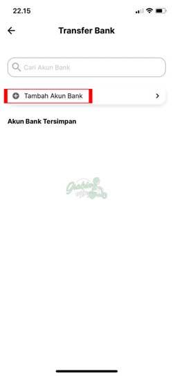 Pilih Tambah Akun Bank