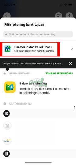 Pilih Transfer Instant ke Rekening Bank Baru