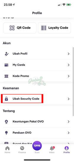 Pilih Ubah Security Code