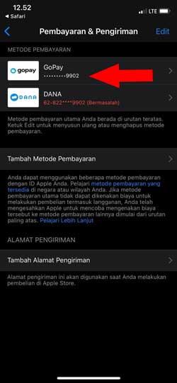 Tambah Gopay ke App Store Berhasil