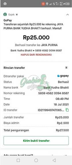 Transfer Gopay ke Bank Neo Berhasil