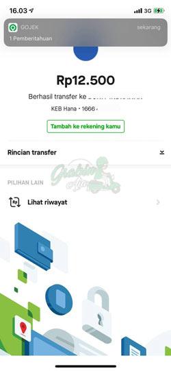 Transfer Gopay ke Line Bank Berhasil