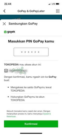Masukkan PIN Gopay