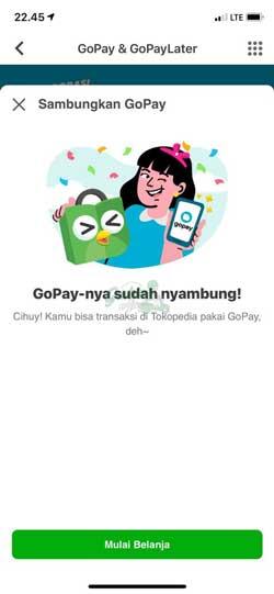 Menghubungkan Gopay ke Tokopedia Berhasil